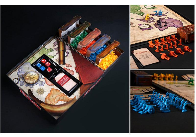 Interior de la caja juego de mesa Risk