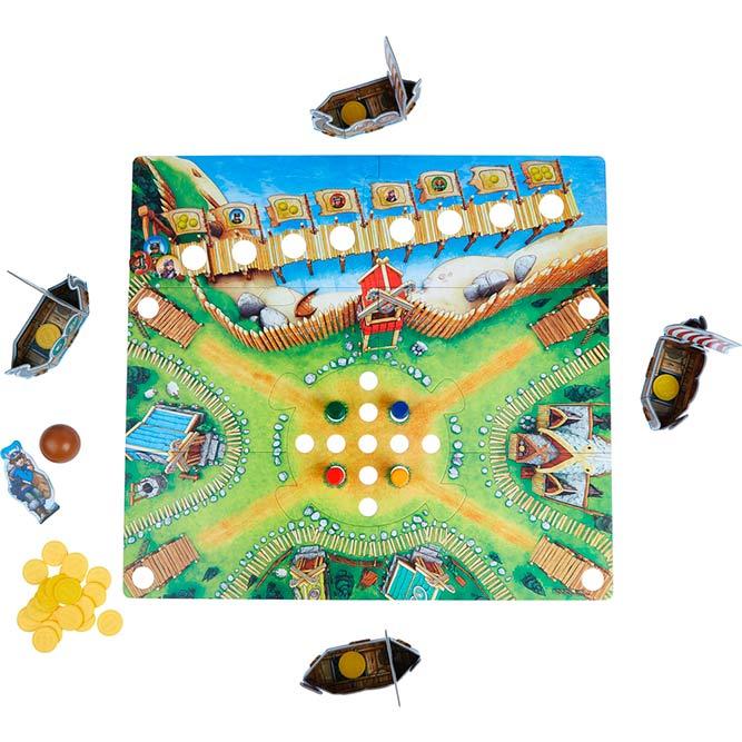 Contenido de la caja del juego de mesa del Valle de los Vikingos